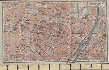 1925 GERMAN MAP ~ MUNCHEN CITY PLAN ENVIRONS ~ STATION MAXIMILLIAN MARKET CHURCH