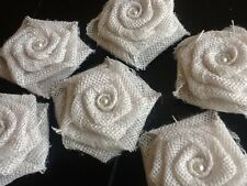 Six Burlap Flowers White With Lace Rose Rustic Wedding Outdoor Table Country