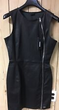 DIESEL Women's Black Leather Small Ozze Dress New NWT