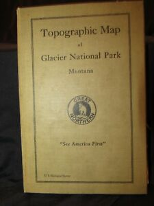 RARE: Glacier Park Map on Canvas! ~1915