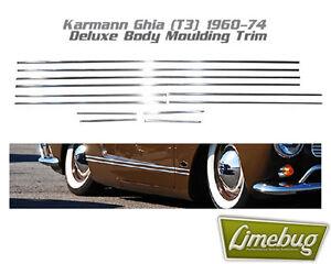 VW Karmann Ghia 1960-1974 Deluxe Body Moulding Trim Aluminium Classic T1 T3
