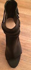 Zapatos De Tacón Alto Zara Negro Peep Toe Con Correas De UK7/EU40