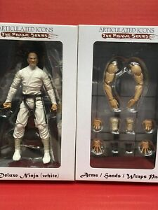 """Fwoosh Articulated Icons The Feudal Series Deluxe Ninja White Arm Figure 6"""" Lot"""