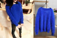 ❄️ BLAU 100 % ANGORA PULLOVER WOLLE WOOL JUMPER SWEATER MINK CASHMERE ALL SIZES