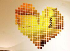100 x Room Decoration Mirror Tile Wall Sticker 3D Decal Modern Mosaic 2x2 cm UK