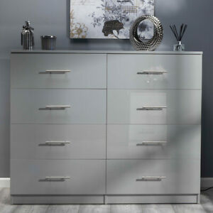 Grey ALL GLOSS Huge 8 Drawer Chest of Drawers. Premium Bedroom Gloss Furniture.