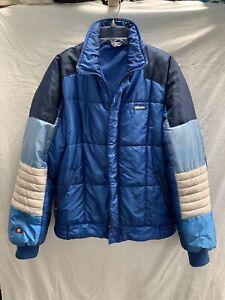 Vtg 70's Ellesse Of Italy Puffer Ski Jacket~Lrg~Zip Away Hoodie~3 Pocket~Thick