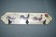 Sheet Metal Key Rack 28 CM Rustic Country House Style Towel Rail Chicken Cock
