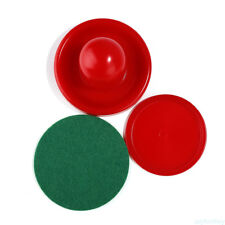 2PCS Air Hockey Table Goalies With 2PCS Puck Felt Pusher Mallet Grip Red Y