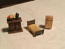 Lot of Vintage Dollhouse Furniture *BED* & *CABINETS**