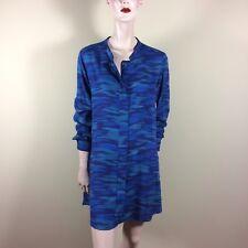 DKNY Damen Bluse S M 36 38 Blau Weit Big Shirt Oberteil Top Hemd Tunika Blouse
