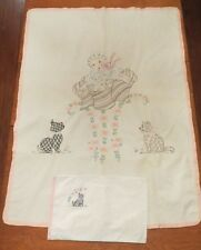 Vtg Hand Embroidered Crib Cover Blanket and Pillow Cover Scottie Dog Cat Baby