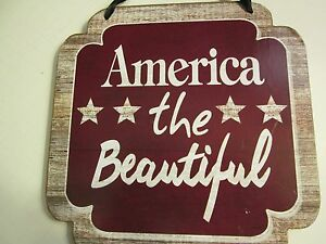 """America the Beautiful"" Wooden Plaque, 7"" x 7"", NEW"