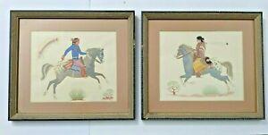 1950s Lg Pair Navajo Artist Harrison Begay Silk Screened Prints Tewa Santa Fe