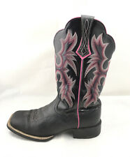 Ariat Women Tombstone Cowboy Boots Black/Black Patent/ Pink 10005866 Size 6 B