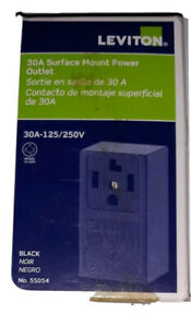 Leviton 3-Pole 30A Surface Mount 4-Wire Grounding Power Outlet Black Brand New