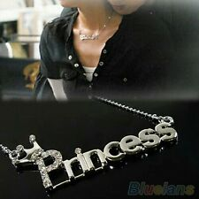 #7015 Fashion Crystal Words Letters With Crown Clavicle Chain Pendant Necklace