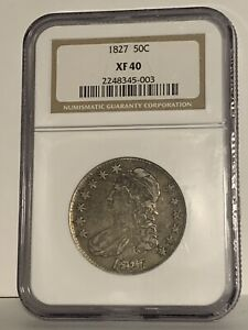 1827 50C NGC XF 40 1827 CAPPED BUST HALF DOLLAR SILVER 10c