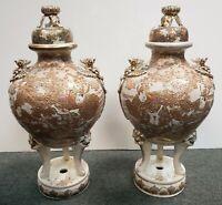 Pair of Late 19th Century Japanese Satsuma Porcelain Gilded Temple Koro Censers