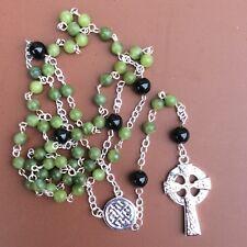 Long Celtic Connemara marble rosary necklace. Irish made gemstone jewelry gift