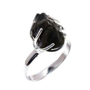 Black Tourmaline Rough Gemstone Handmade Silver Jewelry Ring Size 9 PR4736