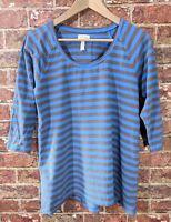 Matilda Jane sz M Striped Top Shirt Stretch Cotton Blue Brown