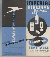IMPERIAL AIRWAYS EUROPEAN TIMETABLE 1937