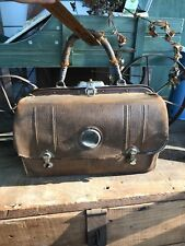 Rare Antique Small Leather Doctors Bag, 3 Small Locks, Ornate, Stamped 12 1140