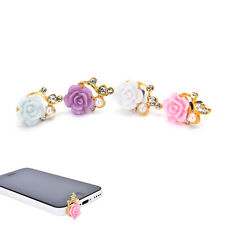 2PCS 3.5mm Rose Crystal Anti Dust Cap Earphone Jack Plug Stopper Cell Phone liau