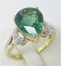 Natural 6.0ct Green Quartz & Diamond 9ct 9K Solid Gold Ring - Bravo Jewellery