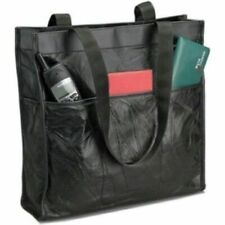 Womens Leather Shopping or Travel Tote Bag, Large Black Shoulder Girl Purse Case