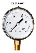 New Hydraulic Liquid Filled Pressure Gauge 0-100 PSI