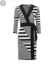 B 104# Principles - Black striped knee length wrap dress size20 RRP£39