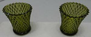 SET OF 2 VINTAGE HOME INTERIOR GREEN DIAMOND CUT GLASS CANDLE VOTIVE HOLDER CUPS