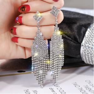 Luxury Woman Crystal Rhinestone Earrings Long Tassel Dangle Wedding Jewelry AZ