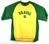 Mens Starter Brazil Soccer Jersey Shirt #4 Yellow Green Size Medium Brasil