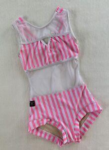 KANDI KOUTURE Leotard DANCE Gymnastics CANDY STRIPER Open Back BODYSUIT Size: CL