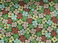 Fabric Flowers Bleeker Street on Dark Green Cotton by the 1/4 yard BIN
