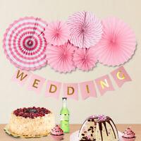 6pc guirlande de tissus suspendus fans de papier Decoratoins fleur fête mariage