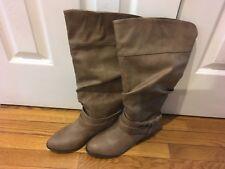 Women tall beige wide calf boots