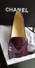 100% Authentic New Chanel Loafers. Dark Purple patent leather shoes. 381/2 EU
