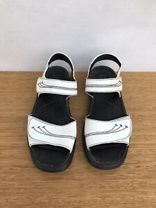 ☘️ Women's Josef Seibel Leather Footbed Sandals Flats Shoes White Size 38 7