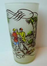 Hunters and Dogs Currier & Ives Frosted Glass Collectible 50's