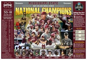 """MISSISSIPPI STATE WINS 2021 COLLEGE WORLD SERIES 19""""x13"""" COMMEMORATIVE POSTER"""