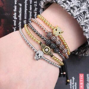 Women Men Bracelet Braided Leather Cuff Wristband Skull Beads Friendship Bangle