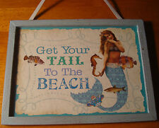 Vintage Beach Mermaid Sign Get Your Tail To The Beach Coastal Home Decor New