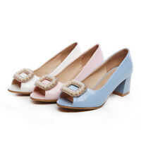 Fashion Womens Block Mid Heels Faux Pearl Decor Peep Toe Pumps Sandals Shoes