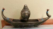 Egyptian Home Decor Pharoah Canoe Statue w/ Canopic Jar Urn Removable Lid #3176