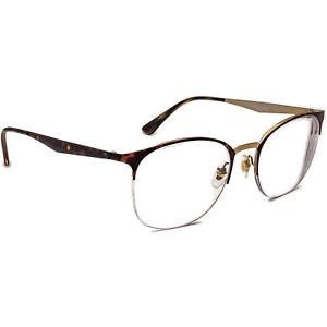 Ray-Ban Eyeglasses RB 6422 3001 Brown on Gold Half Rim Metal Frame 51[]19 140