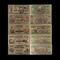 5pcs/lot 1975 Year 24k Gold Foil Gold Banknotes Set Collection Note Us Money